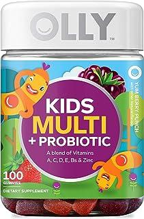 OLLY Kids Multi + Probiotic Gummy Multivitamin, 50 Day Supply (100 Gummies), Yum Berry Punch, Vitamins A, C, D, E, B, Zin...
