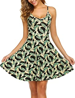 Women's Sleeveless Adjustable Strappy Summer Beach Floral Flared Swing Dress Casual Fit