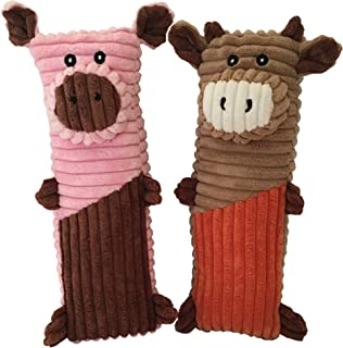 Rosy's Choice Plush Squeaky Pig Cow 2 Pack Medium Large Extra-Large Dog Toy Set