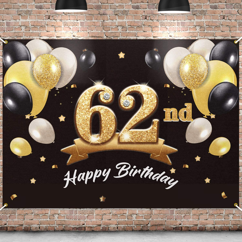 PAKBOOM Happy 4 years warranty 62nd Birthday Banner 62 Backdrop Ranking TOP16 - Party