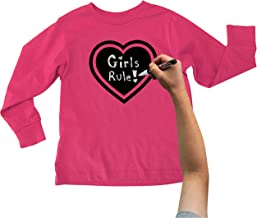 Chalk of the Town Chalkboard T-Shirt Kit for Kids - Long-Sleeve Hot Pink Heart with 1 Chalk Marker and Stencil (Medium)