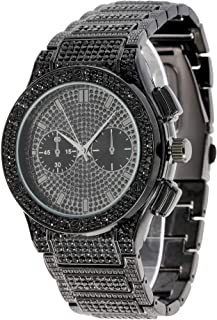 Big Bling Hip Hop Watch Inspired by Name Brand - Mens Iced Look Metal Black Timepiece - ST10311 Blk Metal