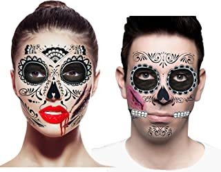 Bloody Skeleton Costume Accessories Set for Couples (Set of 2 Halloween Day of The Dead Face Tattoos, Traditional & Glitte...