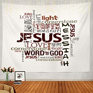 Shrahala Religious Tapestry, Christian Religious Words White Jesus Worship Church Love Wall Hanging Large Tapestry Psychedelic Tapestry Decorations Bedroom Living Room Dorm(51.2 x 59.1 Inches, White)