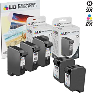 LD Remanufactured Ink Cartridge Replacements for HP 15 & HP 17 (3 Black, 2 Color, 5-Pack)