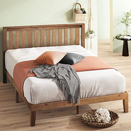 ZINUS Alexia Wood Platform Bed Frame with headboard / Solid Wood Foundation with Wood Slat Support / No Box Spring Needed / Easy Assembly, Rustic Pine, King
