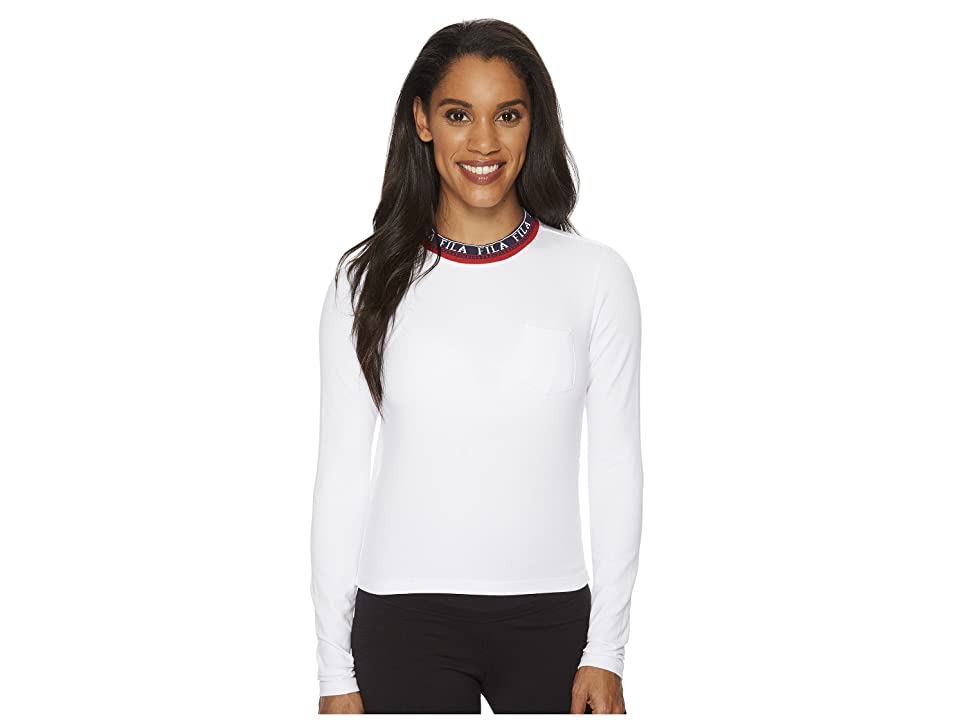 Fila Rebecca Long Sleeve Top (White/Navy/Red) Women