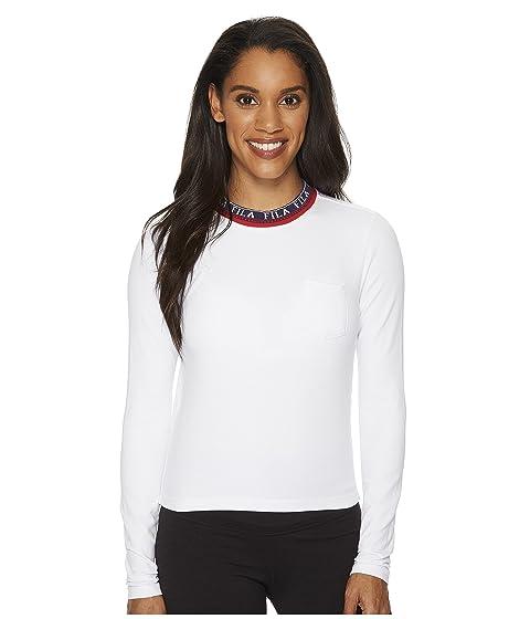 Fila de blanca roja larga marino Rebecca manga azul camiseta qrwpEAq
