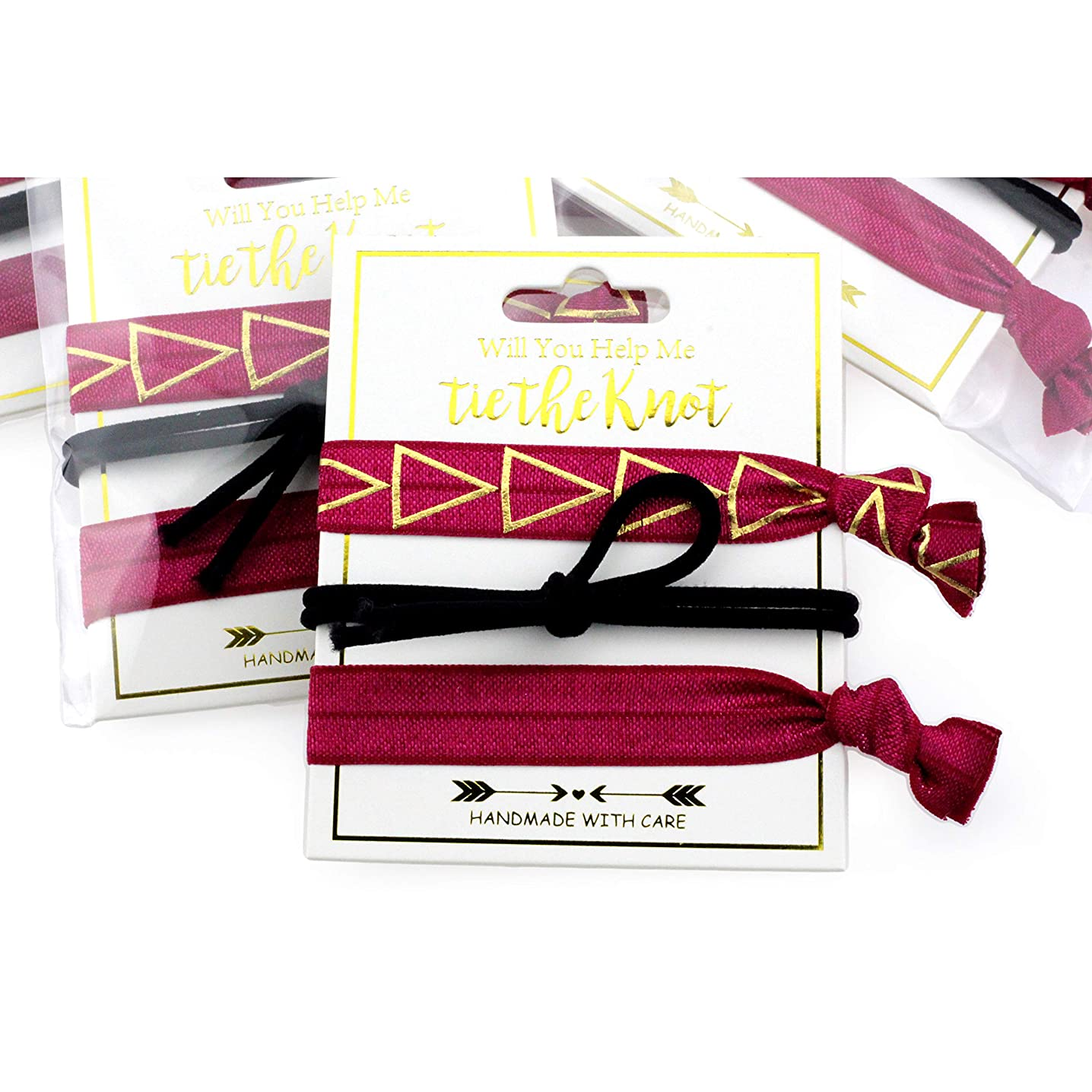 Midi Ribbon Daily Basic Classic Triangle Favors (3 x 5 Pack) Wine and Black Party Bachelorette Decorations and Supplies, Hair Ties