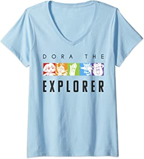 Womens Nickelodeon Dora The Explorer Rainbow Boxes V-Neck T-Shirt