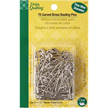 Dritz 3031 Curved Basting Safety Pins, Size 2, Nickel-Plated Brass (75-Count)