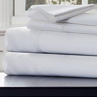 Bedford Home 1000 Thread Count Cotton Sateen Sheet Set, Queen, White