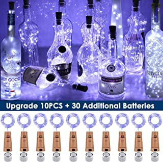 TECVINCI Wine Bottle Lights with Cork, 10 Pack Fairy Lights Battery Operated LED Cork Shape Silver Wire Fairy Mini String Lights for Bedroom, DIY, Party, Wedding Gift Decor Indoor Outdoor(Cool White)