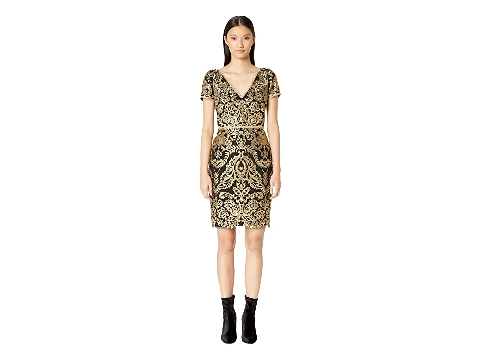 7c71c083 Marchesa Notte Short Sleeve Metallic Embroidered Cocktail Dress (Gold) Women