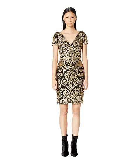 Marchesa Short Sleeve Metallic Embroidered Cocktail Dress