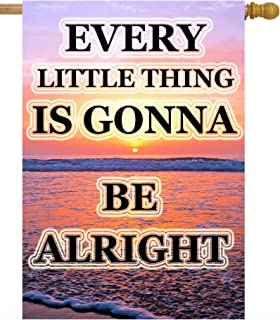 """ShineSnow Everything is Going to Be Alright Summer Beach Sunrise Tropical House Flag 28"""" x 40"""" Double Sided Polyester Welc..."""