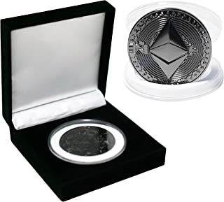 2021 Black Ethereum 2.0 Collectible Commemorative Coin with Luxury Velvet Case   ETH 2.0 Cryptocurrency [Upgraded Packaging]
