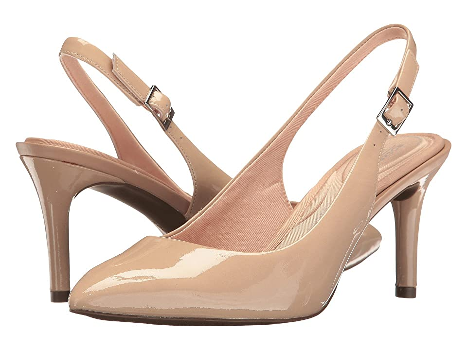 Rockport Total Motion 75mm Pointy Toe Sling (Warm Taupe Patent) High Heels
