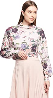 Stradivarius TOP For Women, Peach Base With Multicolor Flower Prnit M