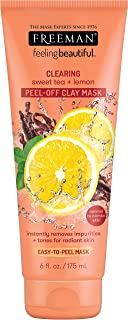 Freeman Clearing Peel Off Clay Facial Mask, Cleansing and Oil Absorbing Beauty Face Mask with Sweet Tea and Lemon, 6 oz
