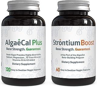 AlgaeCal Bone Builder Pack – Plant-Based Calcium Supplement with Magnesium, Boron, Vitamin K2 + D3   Includes Strontium Bo...