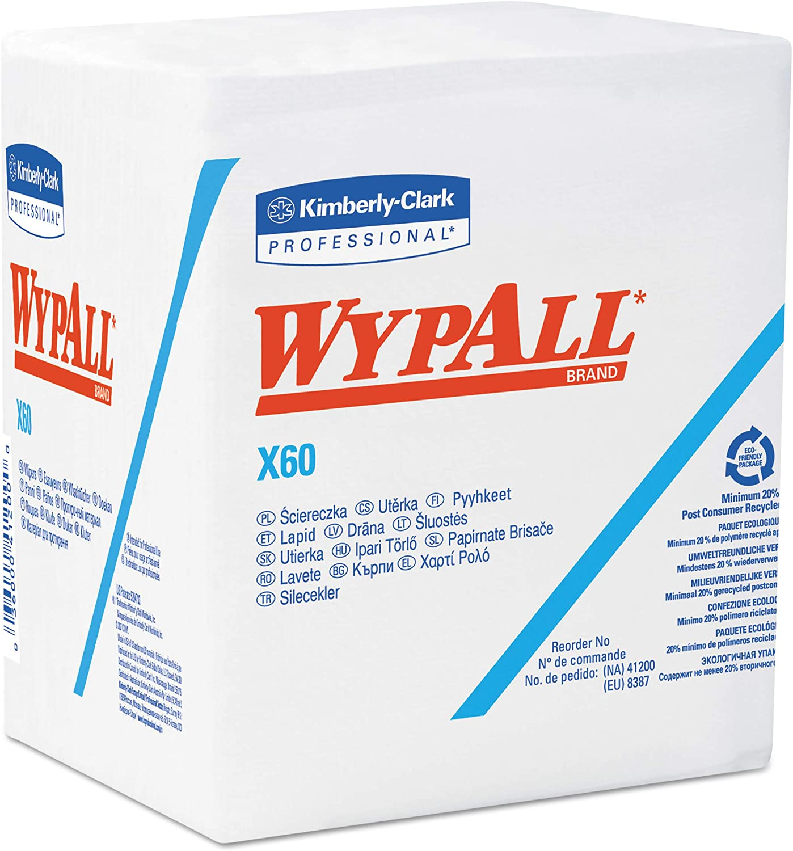 WypAll 34865 X60 Cloths, 1 4 Fold, 12 1 2 x 13, White, 76 per Box (Case of 12 Boxes)