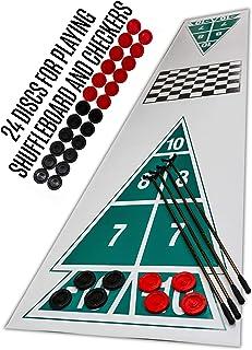 "Family Shuffleboard Court with Checker Board 2 Games in One 4"" Discs (12 Red, 12 Black), 4 - Shuffleboard Cues, 3'W x 18'L Rollout Court, Rules for Shuffleboard & Checkers"