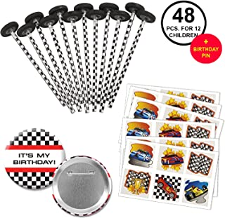 Race Car Racing Favors Party Supplies Pack for 12