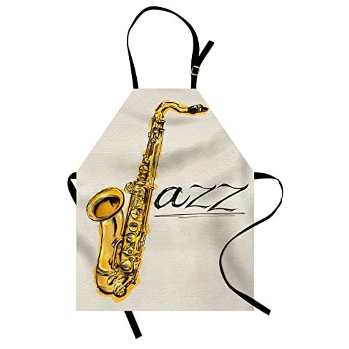Lunarable Music Apron Classic Painting Of Jazz Saxophone Print On Plain Background Vintage Style Sketch