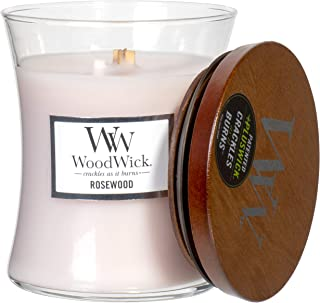 WoodWick Rosewood Scented Hourglass Crackling Wooden Wick Candle in Clear Glass Jar, Medium - 9.7 Oz