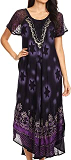 Sakkas Marga Women Maxi Summer Caftan Swimsuit Beach Cover Up Dress with Lace