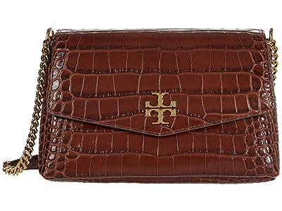 Tory Burch Kira Embossed Small Convertible Shoulder Bag (Caffeine) Handbags