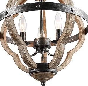 KSANA Orb Chandelier, 15'' Globe Chandeliers for Dining Rooms,3-Lights Globe Pendant Light,Distressed Wood Farmhouse Chandelier for Bedroom, Living Room, Kitchen Island,Foyer