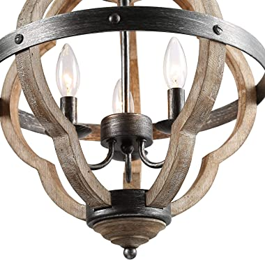 KSANA Orb Chandelier for Dining Rooms,15'' Globe Pendant Light Distressed Wood Farmhouse Style for Kitchen Island,Foyer, White