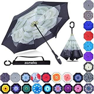 Z ZAMEKA Double Layer Inverted Umbrellas Reverse Folding Umbrella Windproof UV Protection Big Straight Umbrella Inside Out Upside Down for Car Rain Outdoor with C-Shaped Handle, Gardenia