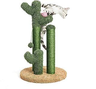 Pesofer サボテン 猫 スクラッチ ポスト 猫 スクラッチャー 3 スクラッチ ポール 花 装飾 と ダングリング ボール付 猫用 ラウン L