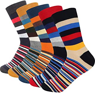 Bighand Cat 5-6 Pairs Men Dress Socks Funky Colorful Pattern Combed Cotton Crew Socks
