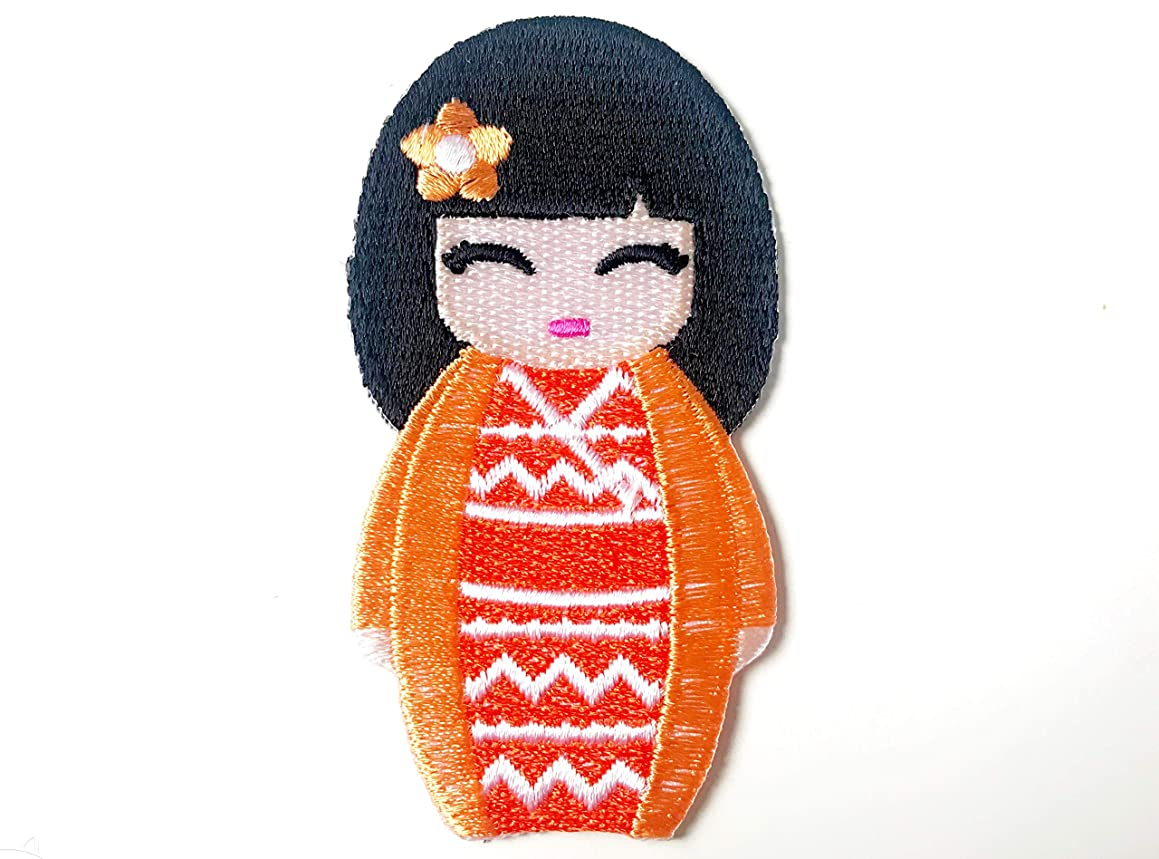 Tyga_Thai Brand Orange Color Japanese Kokeshi Doll Japan Vintage Cute Girl Jacket T-Shirt Sew Iron on Embroidered Applique Badge Sign Patch (Iron-Doll-Japan-Girl)