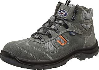 Allen Cooper AC-1464 Leather Safety Shoe, Double Density DIP-PU Sole, Grey, Size 10