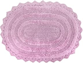 DII 100% Cotton Crochet Large Oval Luxury Spa Soft Bath Rug, for Bathroom Floor, Tub, Shower, Vanity, and Dorm Room, 21x34...