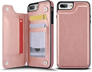 UEEBAI Case for iPhone 5 5S SE, Luxury PU Leather Case with [Two Magnetic Clasp] [Card Slots] Stand Function Durable Soft TPU Case Back Wallet Flip Cover for iPhone 5/5S/SE - Rose Gold