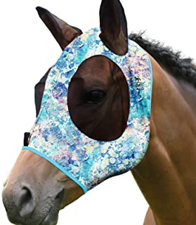 Harrison Howard Elasticity Horse Fly Mask Superb Comfort with UV Protection Standard Horse Fly Mask for Horse-Pastel Mix (...