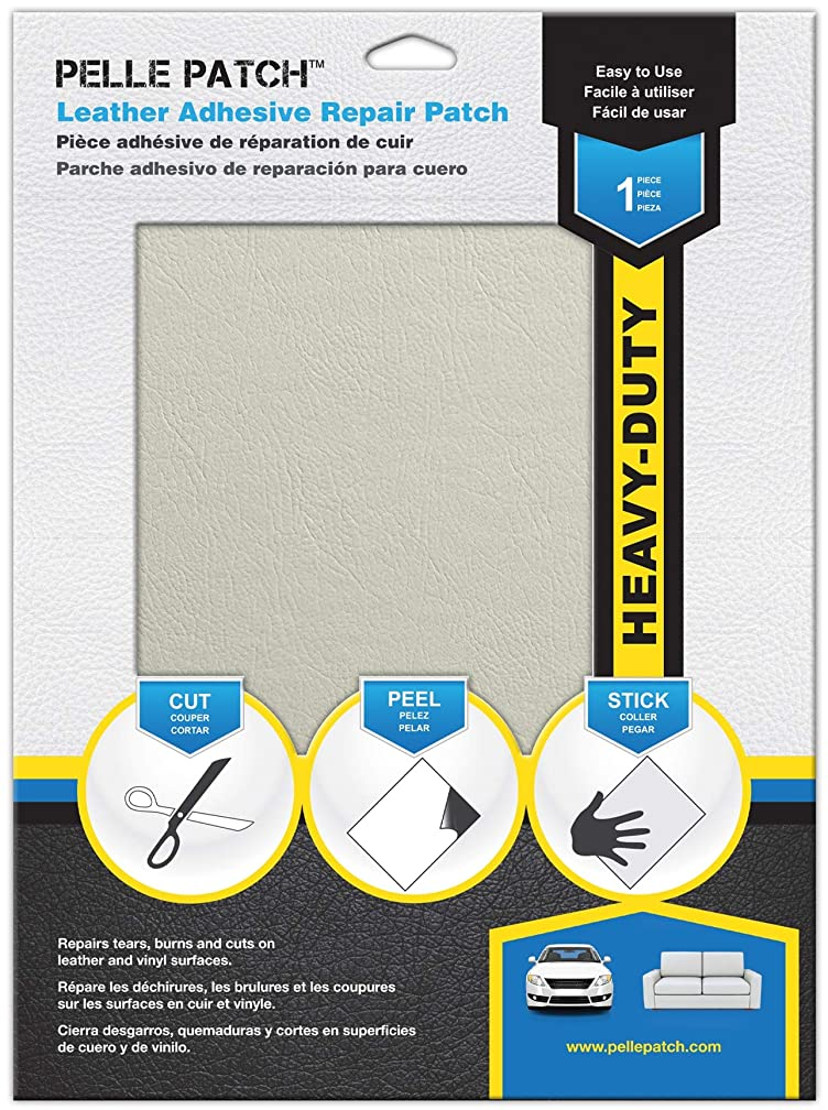 Pelle Patch - Leather & Vinyl Adhesive Repair Patch - 25 Colors Available - Heavy-Duty 8x11 - Off-White
