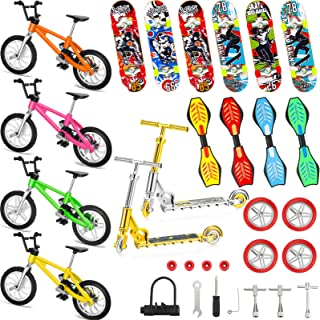 31 Pieces Mini Finger Toys Set Includes Finger Skateboards, Finger Bikes, Mini Scooters and Matched Wheels and Tools Acces...