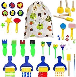Diealles Shine 29 Pièces Enfants Brosses de Peinture à l'Éponge Kits avec Sac en Lin de Coton pour Maternelle Artisanat Ar...
