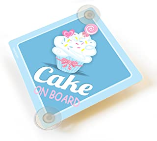 Personalized Cake on Board, Cute Blue Cupcake Vehicle Sign