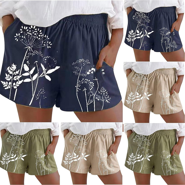 JiHua Womens Summer Casual Printing Elastic Waist Pocket Solid Workout Running Athletic Pajama Loose Linen Shorts Pants