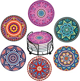 YumSur Drink Coasters Set of 6 with Holder Absorbent Ceramic Stone Coasters with Cork Bottom Heat and Scratch Resistance Decorative Drink Mats Coasters Cup Coasters (Colorful)