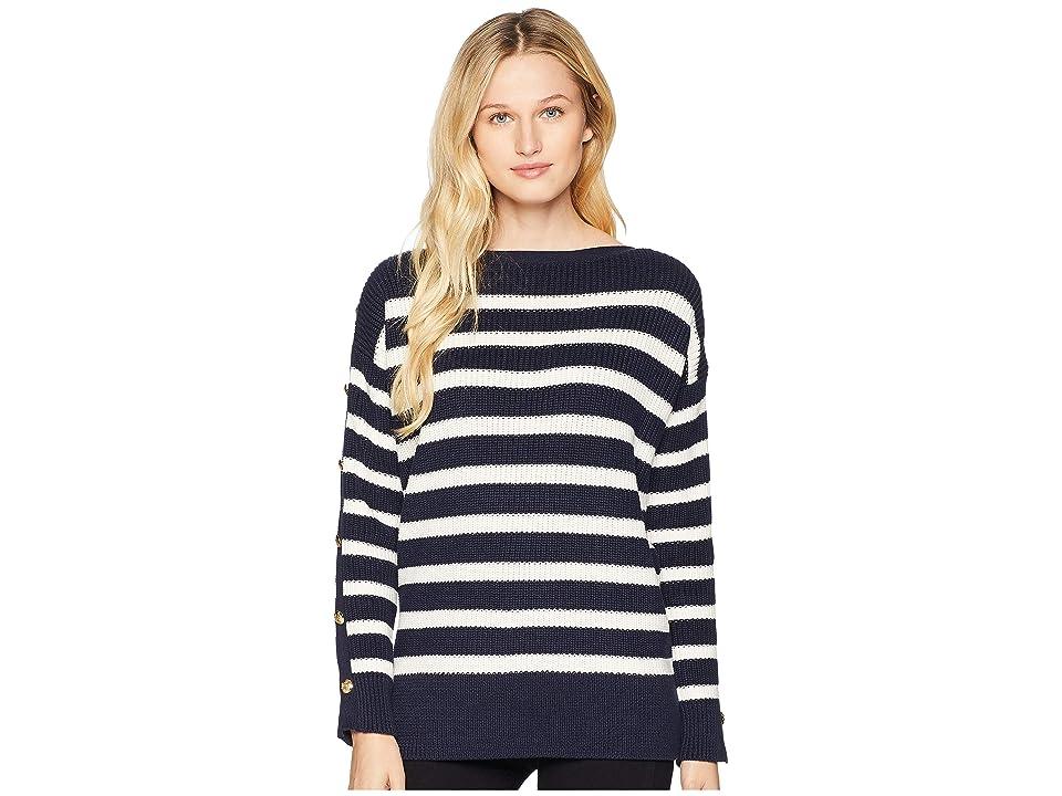 LAUREN Ralph Lauren Button-Trim Cotton Sweater (Navy/Mascarpone Cream) Women