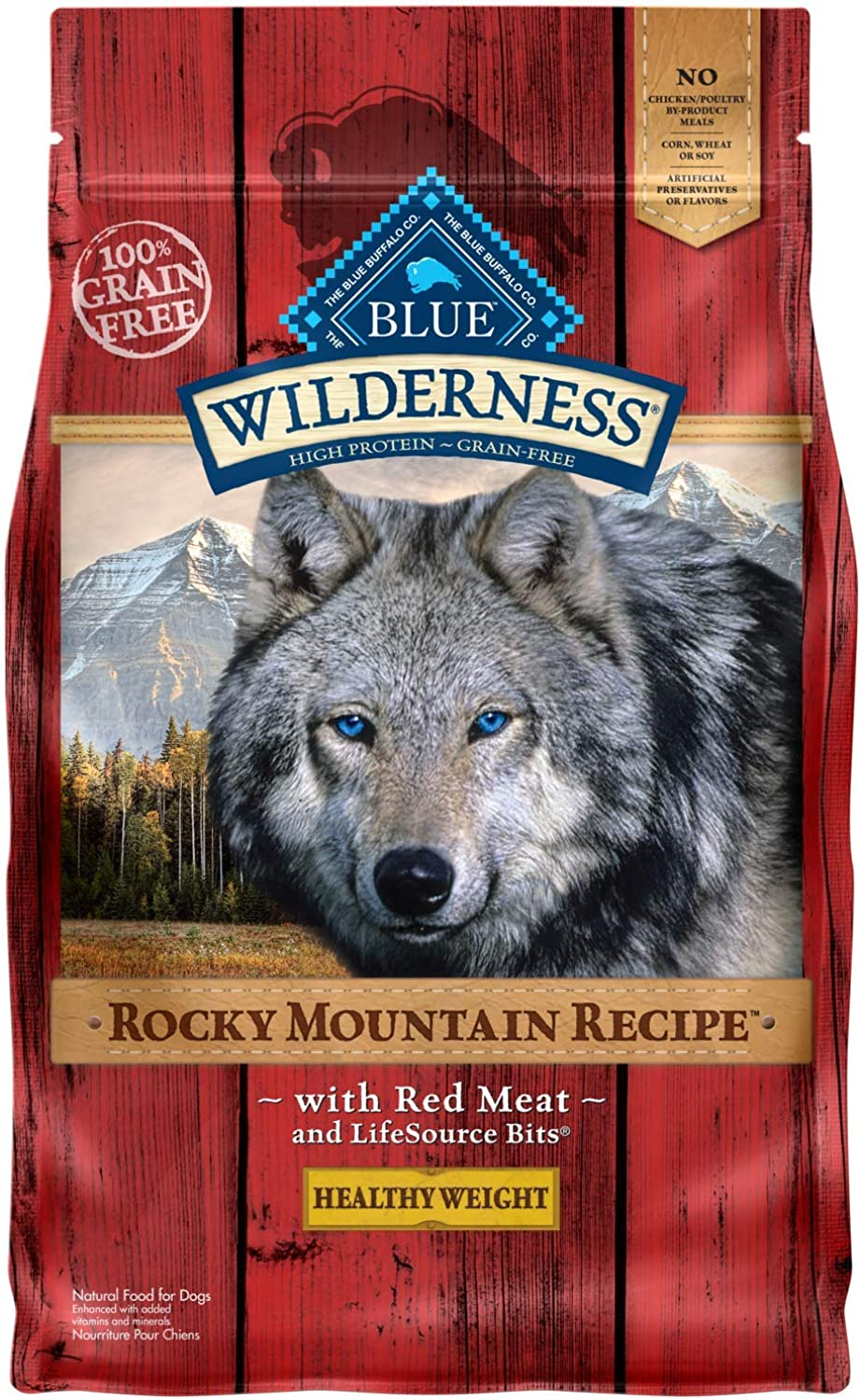blueE Wilderness Rocky Mountain Recipe Recipe Adult Healthy Weight GrainFree Red Meat Dry Dog Food 4lb